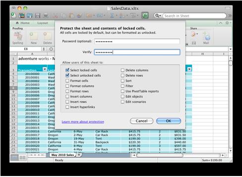 werkblad en het wachtwoorddialoogvenster