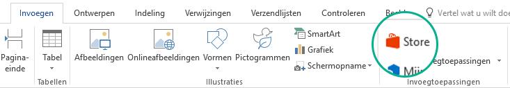 De knop Store op het tabblad Invoegen van het Office-lint gebruiken om Office-invoegtoepassingen te installeren
