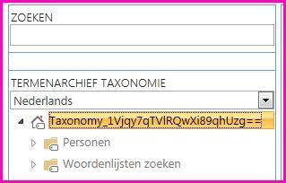 Een schermopname van de structuurweergave van het hulpprogramma voor het beheer van het termenarchief, waarbij de naam van de taxonomie en de onderliggende mappen worden weergegeven.