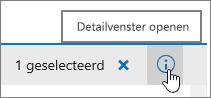 Knop voor openen van detailvenster gemarkeerd