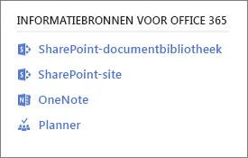 Schermopname met Office 365-informatiebronnen