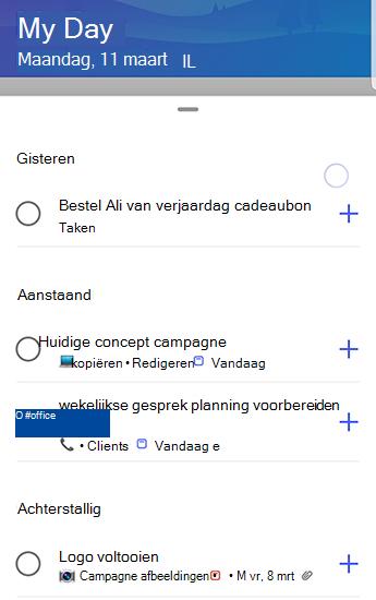 Scherm afbeelding van to-do voor Android met suggesties die volledig zijn geopend en gegroepeerd op gisteren, komende en achterstallig.