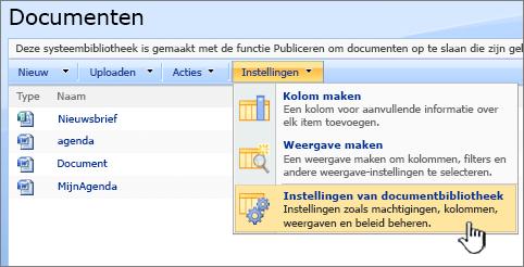 Selectie van de optie Instellingen van documentbibliotheek vanuit het menu Instellingen