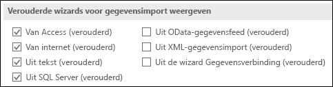 Afbeelding van de opties voor het ophalen en transformeren verouderd Wizard uit bestand > Opties > gegevens.