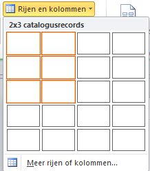 catalogpagina-indeling, rijen en kolommen