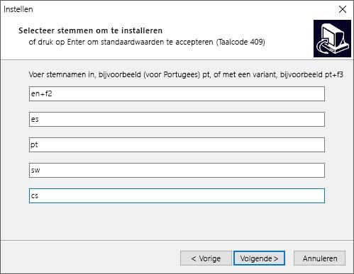 Dialoogvenster voor eSpeak-installatie
