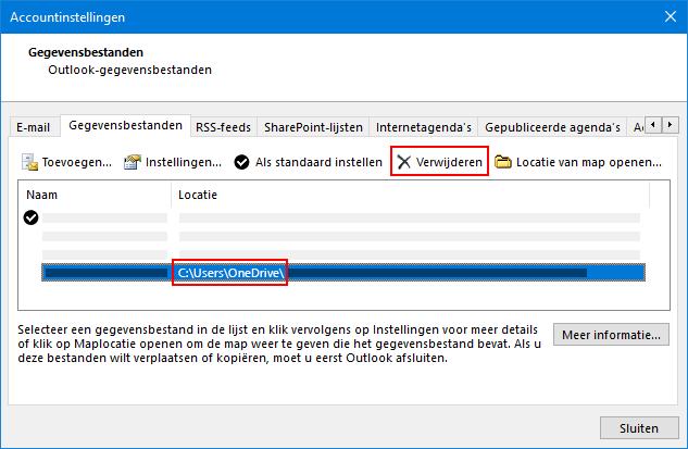 Dialoogvenster Outlook-gegevensbestanden