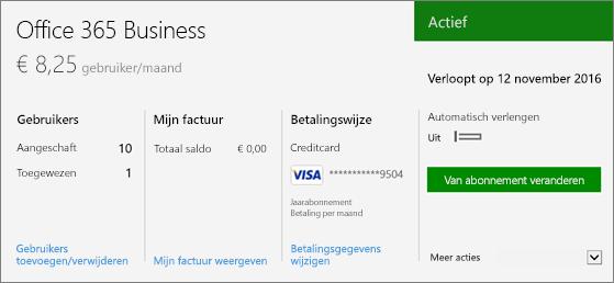 Abonnement op de pagina Abonnementen van het Office 365-beheercentrum, waarop te zien is welk abonnement u hebt en wat de status ervan is.