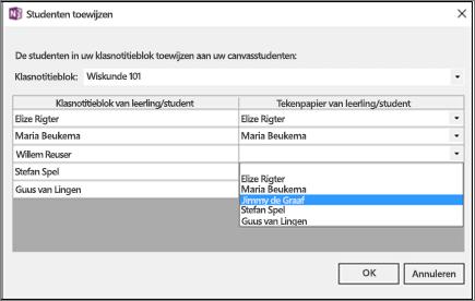 In het deelvenster Leerlingen/studenten toewijzen met een lijst van leerlingen/studenten in klasnotitieblok en leerlingen in Canvas. De naam van één leerling/student is geselecteerd.
