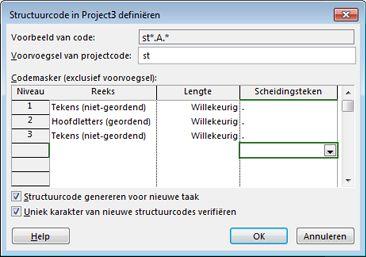 Afbeelding van het dialoogvenster Projectstructuur definiëren