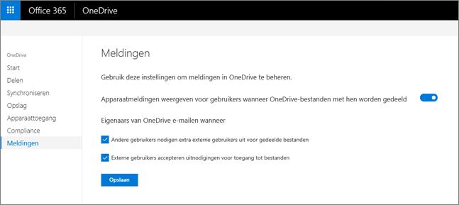 Het tabblad meldingen van de OneDrive-beheercentrum