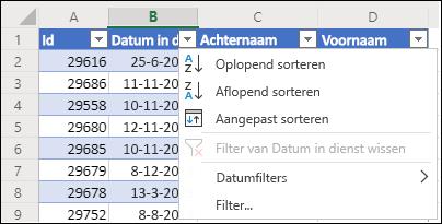 Gebruik het tabelfilter van Excel om in oplopende of aflopende volgorde te sorteren