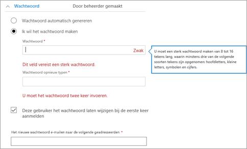 Geeft de wachtwoordvereisten als u besluit om een eerste wachtwoord voor de gebruiker te maken.