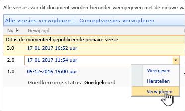 Vervolgkeuzelijst met versies voor een bestand met de optie Verwijderen gemarkeerd