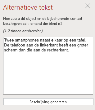 Dialoogvenster alternatieve tekst in PowerPoint online.
