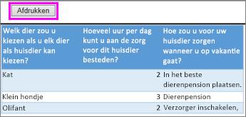 Afdrukvoorbeeld van enquêtevragen en-antwoorden