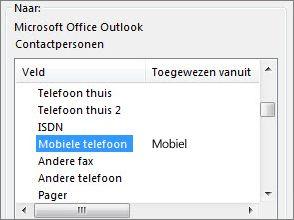 mob. nr. is toegewezen aan het veld mobiele telefoon in outlook