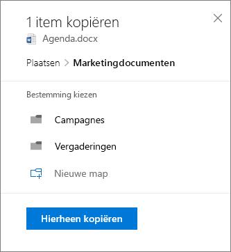 Schermafbeelding van het kiezen van een locatie bij het kopiëren van een bestand naar SharePoint