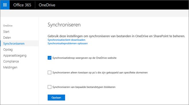 Open tabblad Synchroniseren van het OneDrive-beheercentrum.