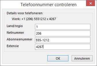 Kies in Outlook op het visitekaartje een optie onder Telefoonnummers en werk indien nodig het dialoogvenster Telefoonnummer controleren bij.