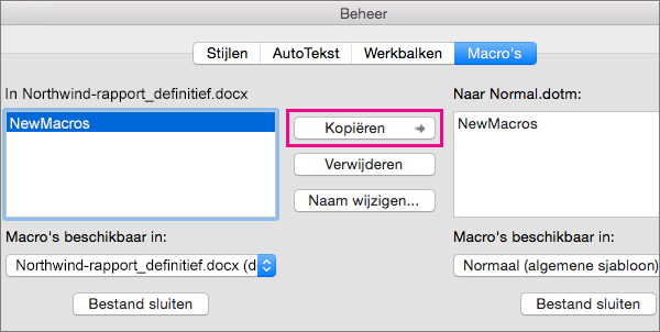 Selecteer een macro in een document en klik vervolgens op Kopiëren om deze naar een geselecteerde sjabloon te kopiëren.