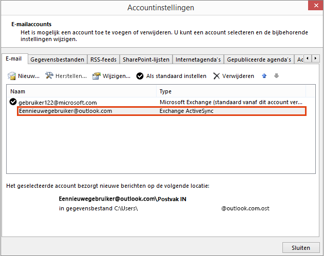 Accountinstellingen in Outlook, E-mailaccounts