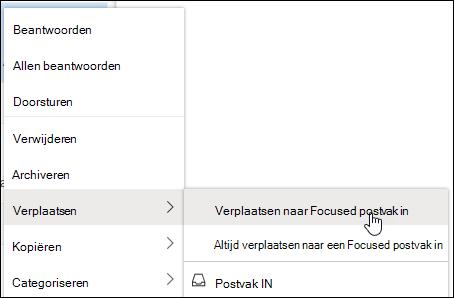 In een schermafbeelding ziet u het snelmenu met het Postvak IN Met de rechtermuisknop verplaatsen naar Postvak IN en Altijd naar Opties voor Postvak IN met focus.