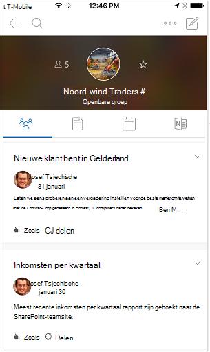 Discussieweergave van de mobiele app van Outlook-groepen