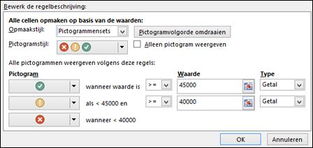 Voorwaardelijke opmaak: dialoogvenster met opties voor pictogrammenset