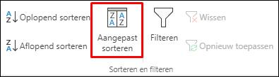 Aangepaste opties voor sorteren op het tabblad gegevens van Excel