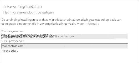Nieuwe migratiebatch met bevestigd eindpunt.