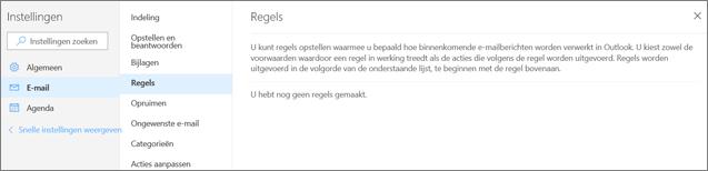 Een schermafbeelding toont de pagina Regels in E-mail in Instellingen voor Outlook.com.