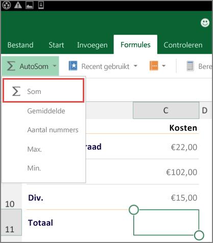 Toegangsmenu lint van Excel voor Android