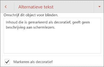 Markeren als Decoratief geselecteerd in het dialoogvenster Alternatieve tekst in PowerPoint voor Android.