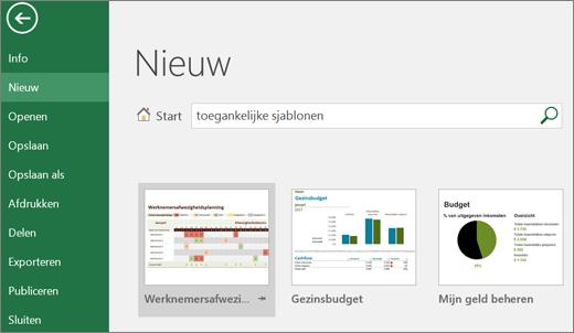 Schermopname van Excel-gebruikersinterface met zoekvak met invoer voor toegankelijke sjablonen en zoekresultaten voor toegankelijke sjablonen.