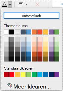 Vervolgkeuzelijst Tekstkleur in OneNote voor Mac.