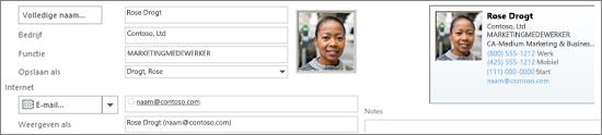 U kunt toevoegen of wijzigen van een afbeelding voor een contactpersoon.
