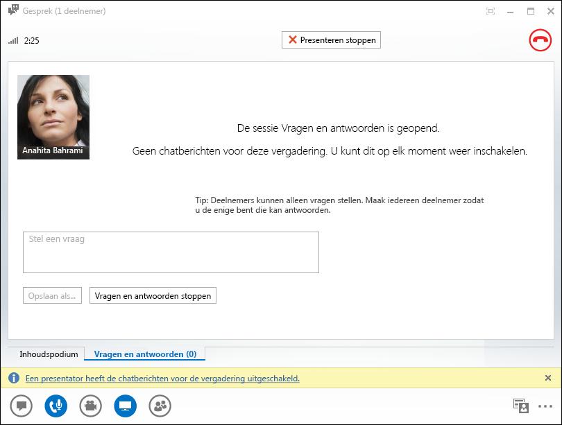 Schermafbeelding van het Q&A Manager-venster
