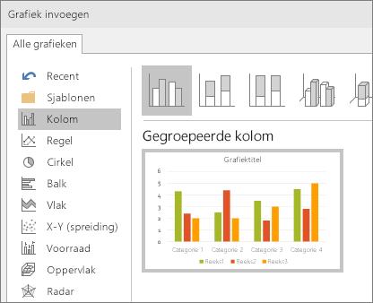 Geeft selectie van kolomdiagrammen weer in PowerPoint