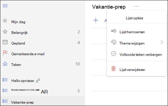 Meer lijst opties