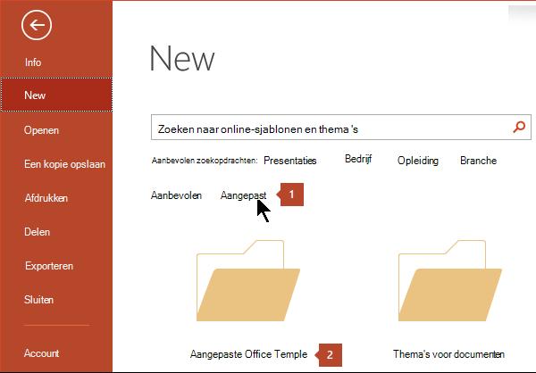 Klik onder Bestand > Nieuw op Aangepast en klik op Aangepaste Office-sjablonen.
