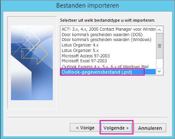 Kies .pst-bestand importeren