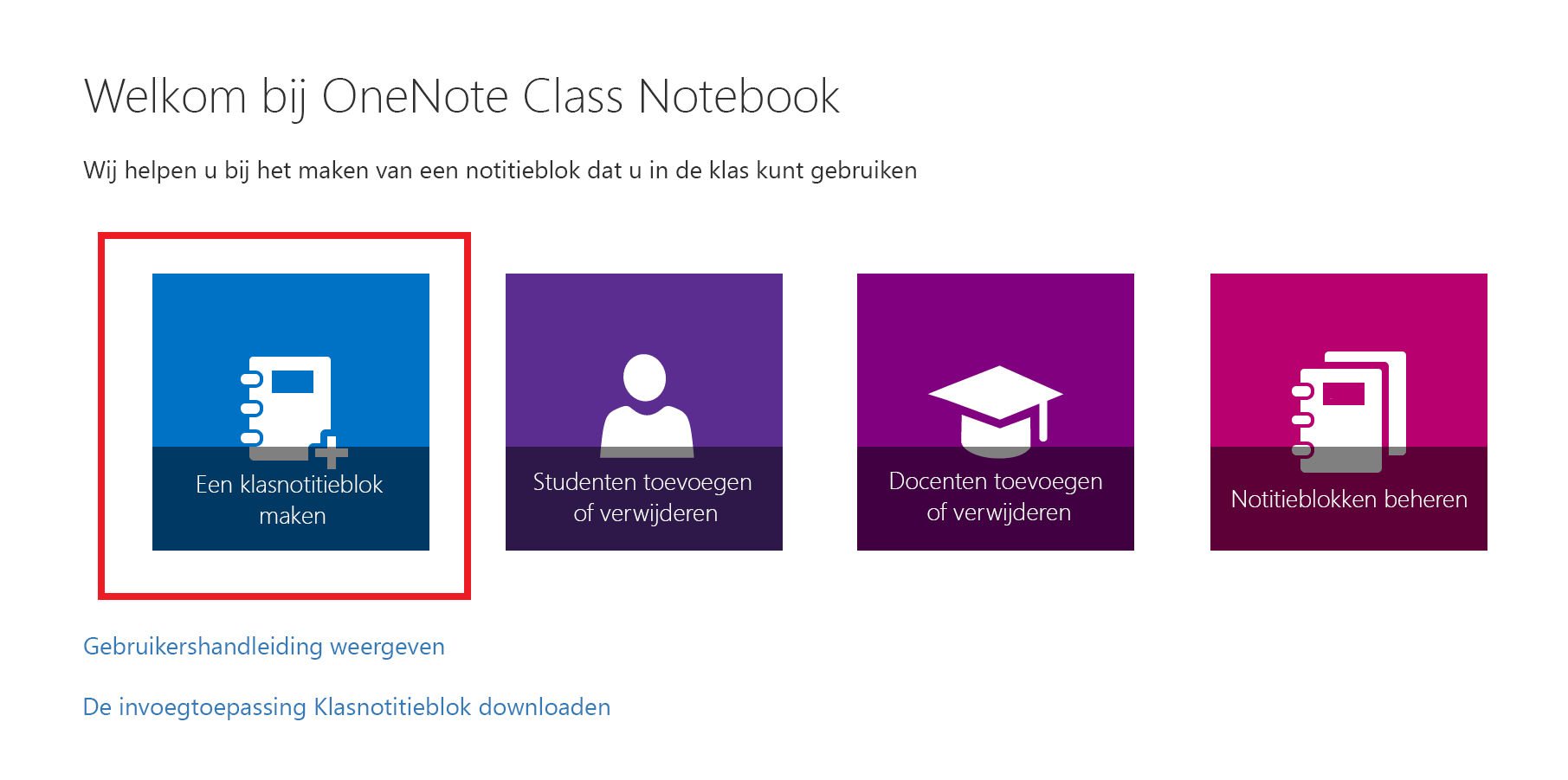 Schermafbeelding van de welkomstpagina van de Class Notebook-app.