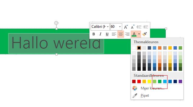 Selecteer de tekst die u wilt verbergen en klik op de achtergrondkleur in de selector Tekstkleur.