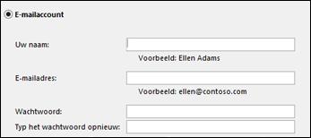 Uw e-mailadres en wachtwoord voor Exchange invoeren