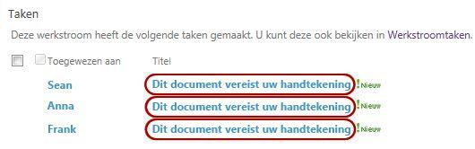 Identificerende tekst in taaknaam op de pagina Werkstroomstatus