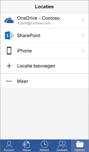 Schermafbeelding van het scherm Plaatsen in de mobiele Word-app.
