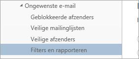 Schermafbeelding van Filters en rapportage in het menu Opties