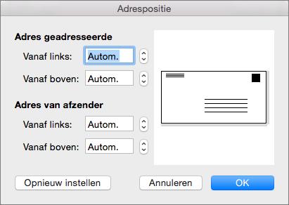 In Adrespositie kunt u de afstand van het adres van de geadresseerde en het adres van de afzender tot de randen van de envelop instellen.