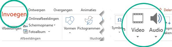 Selecteer op het tabblad Invoegen op het lint van PowerPoint Audio of Video